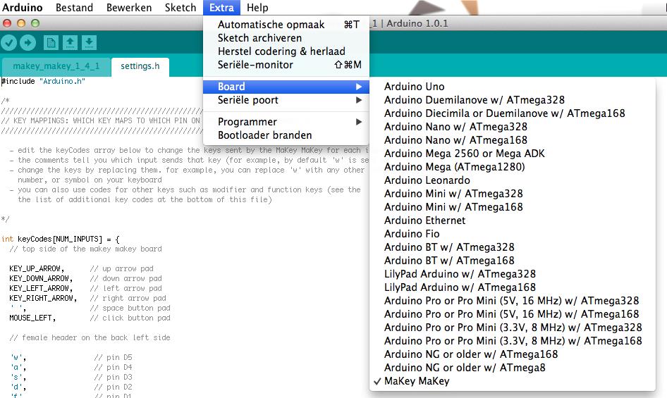 Board toekennen in de Arduino omgeving