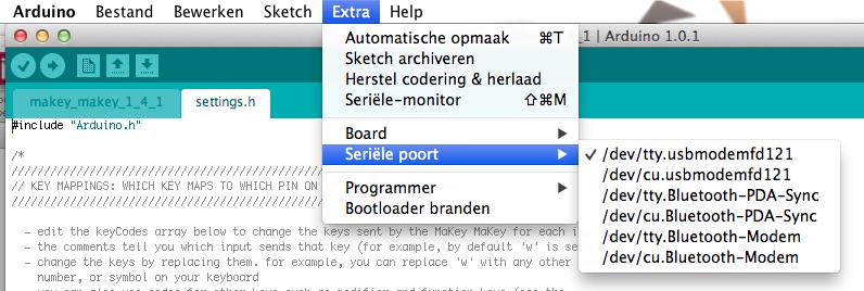 COM poort toekennen in de Arduino omgeving
