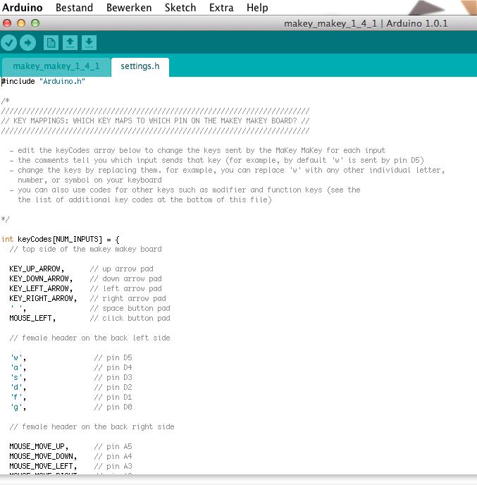 standaard settings van de MaKey MaKey! software